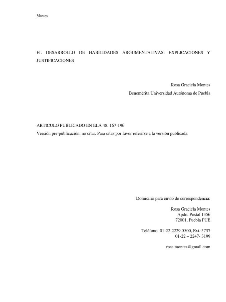 EL DESARROLLO DE HABILIDADES ARGUMENTATIVAS EXPLICACIONES Y ...