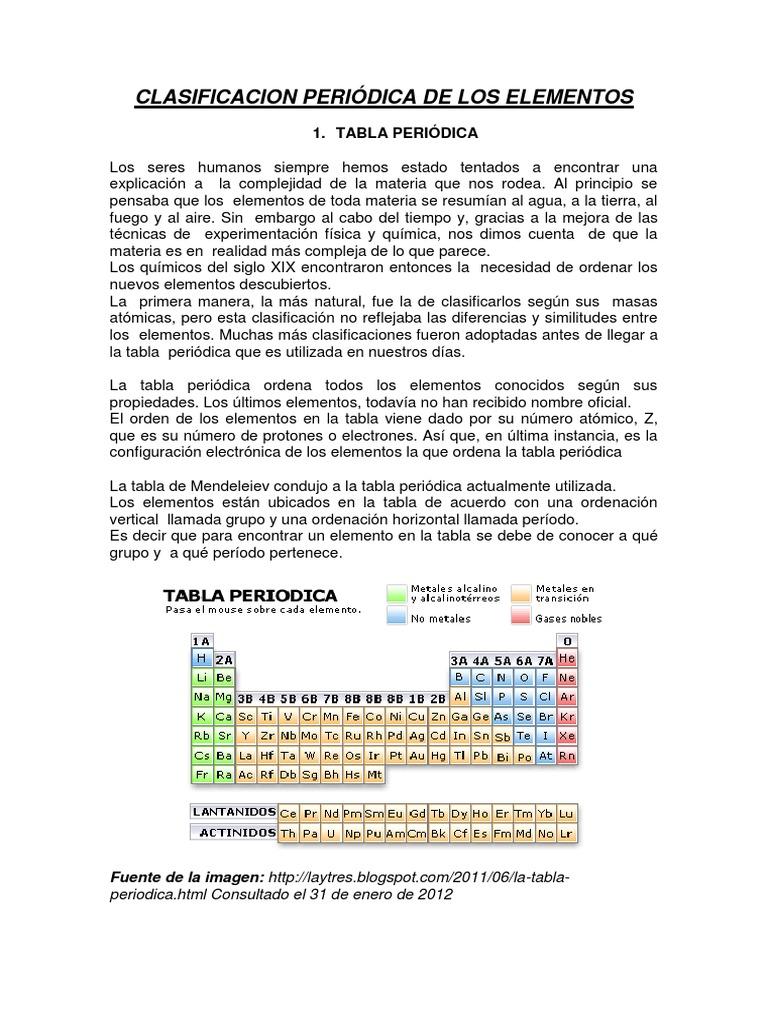 Clasificacion peridica de los elementos urtaz Image collections