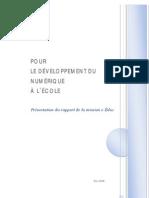 Pour Le Developpement Du Numerique a l Ecole / Présentation du rapport de la mission e-Éduc