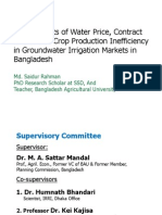 Determinants of Water Price, Contract Choice and Crop Production Inefficiency in Groundwater Irrigation Markets in Bangladesh