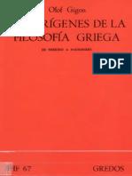 Libro - Olof Gigon - Los Orígenes de La Filosofía Griega