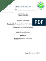 Práctica # 2 Manejo y Calibración de Material Volumétrico