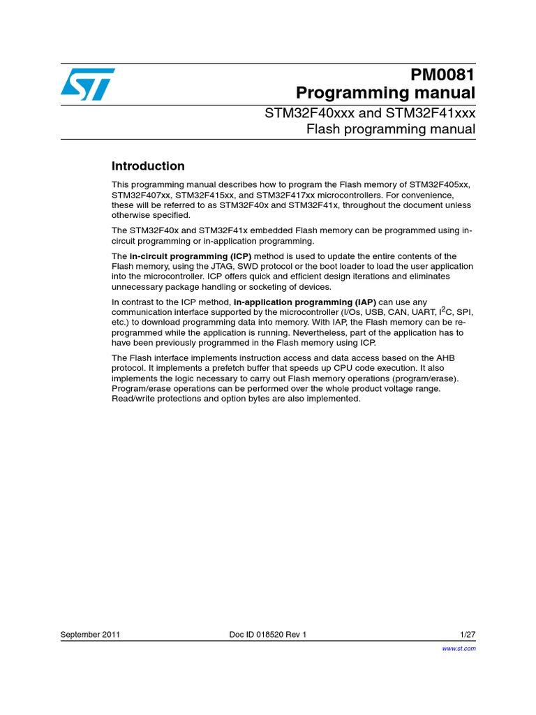PM0081 Programming manual: STM32F40xxx and STM32F41xxx Flash