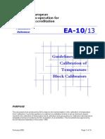 Calibration of Temperature Block Calibratorts- EA