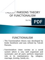 Presentation on Talcot Parsons Functionalism