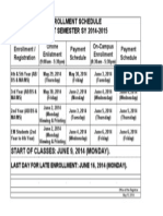 Enrollment schedule for first semester SY 2014-2015