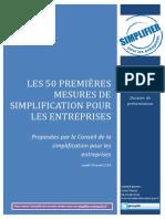 Dp 50 Mesures de Simplification Pour Les Entreprises