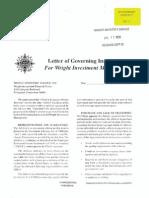 Wright Letter of Governing Instructions SBA 0798 (GI-01)