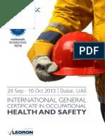 Brochure Nebosh September Dubai UAE 2013