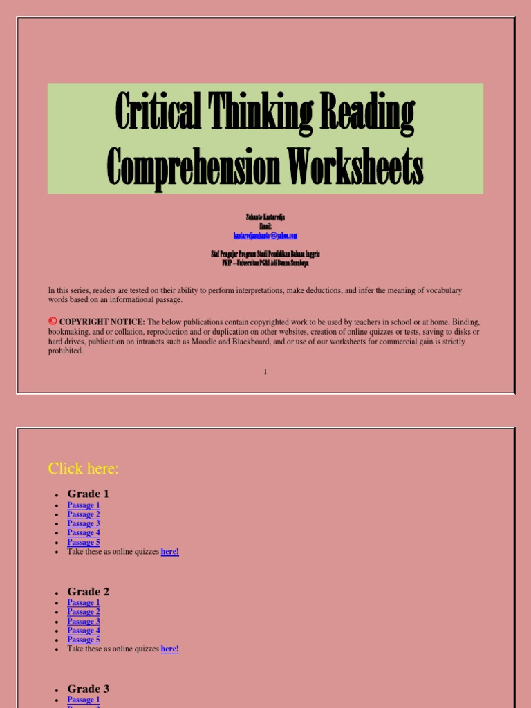 Critical Thinking Reading Comprehension Worksheets   Reading ...