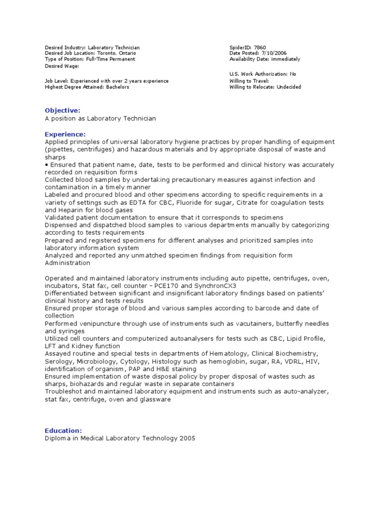 sample - Lab Technician Resume