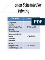Production Schedule for Filming
