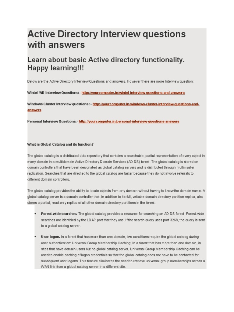 Active Directory Interview Questions With Answers | Group Policy | Active  Directory  Interview Questions For Servers