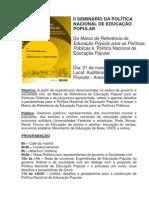 Programação - II Seminário Nacional Da PNEP.e Lançamento Do Marco de Referência