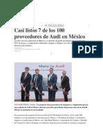 14-05-2014 El Financiero - Casi listos 7 de los 100 proveedores de Audi en México.