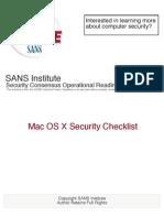 Mac OSX Checklist