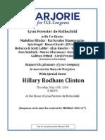 Hillary Clinton-Marjorie Margolies Fundraiser Invite