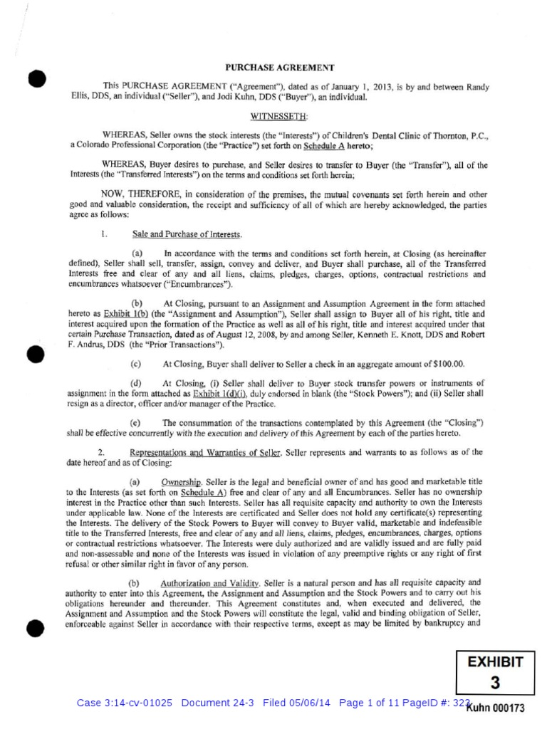 Doc 24 3 Cshm V Kuhn Response Purchase Agreement Indemnity