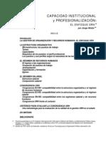 HINTZE, Jorge - Capacidad Institucional y Profesionalizacion, El Enfoque ORH