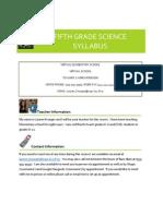 Fifth Grade Science Syllabus