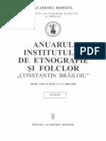 """ANUARUL INSTITUTULUI DE ETNOGRAFIE ŞI FOLCLOR """"CONSTANTIN BRĂILOIU"""""""