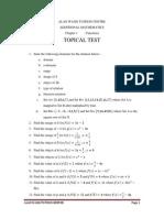 Additional Mathematics Topical Test 1