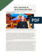 Patricia Kolesnicov. Bajo Presión, Renunció La Directora de La Feria Del Libro.