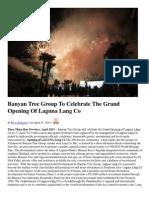 Banyan Tree Group to Celebrate the Grand Opening of Laguna Lang Co