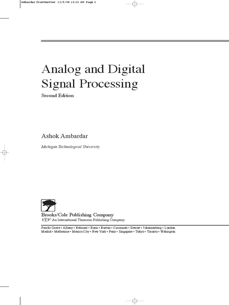 Analog and Digital Signal Processing | Discrete Fourier Transform |  Electronic Engineering