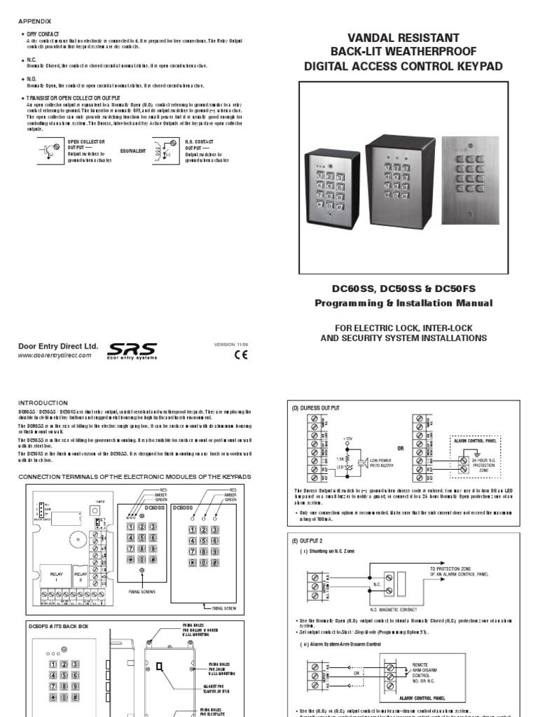 Access Control Intercom Keypad Vandal Resistant Wiring