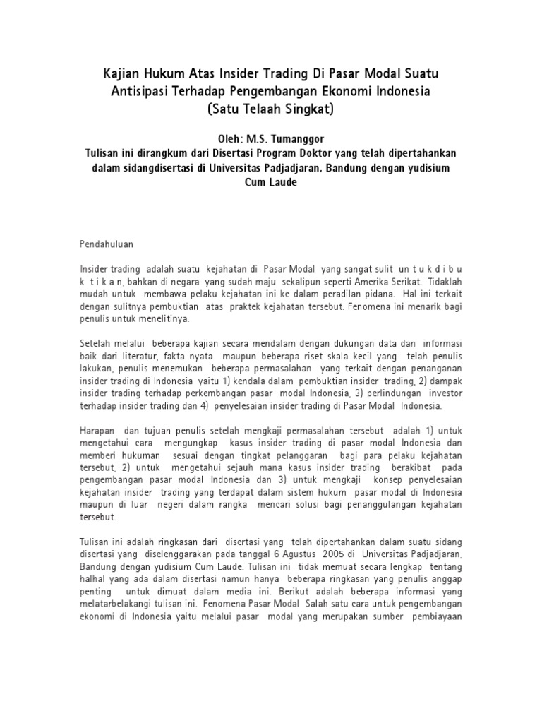 kasus insider trading di indonesia