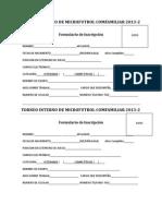 Formulario de Inscripicion Comfamiliar 2013