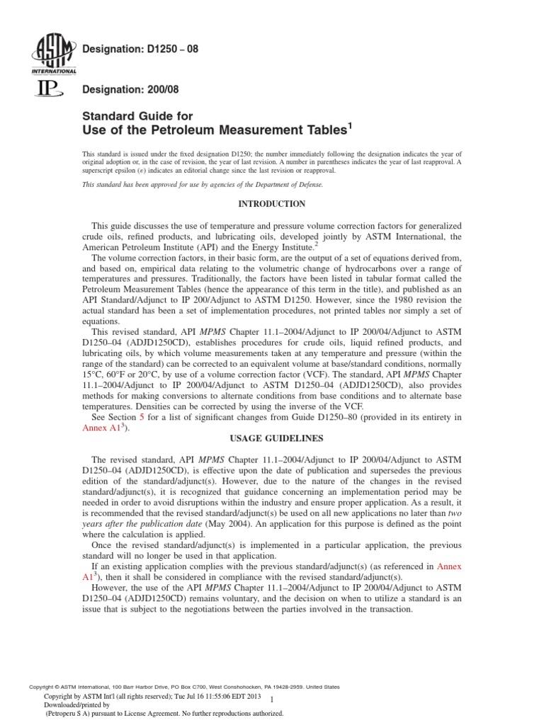 ASTM D1250-08: Standard Guide For Use Of The Petroleum Measurement Tables |  Jet Fuel | Petroleum