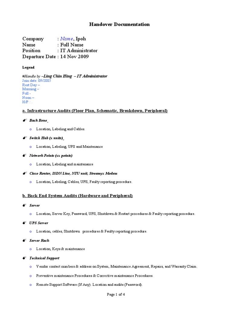 Template Handover Documentation