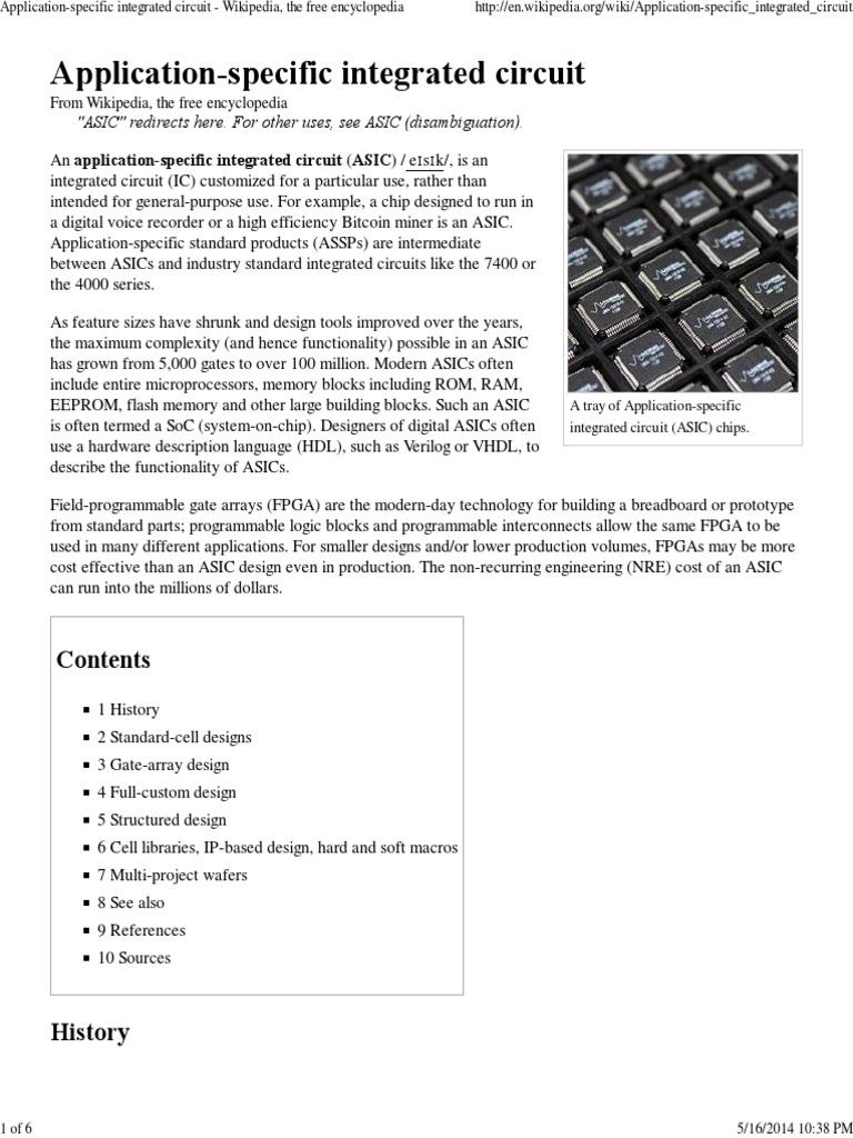 application specific integrated circuit wikipedia the free rh es scribd com Wikipedia English Wikipedia Encyclopedia Search