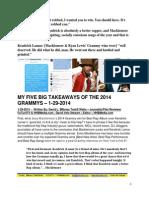 My 5 Big Takeways From The 2014 Grammys - David L. $Money Train$ Watts, FuTurXTV & HHBMedia.com - 1-29-2014