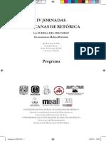 Programa completo (cuadernillo) de IV Jornadas Mexicanas de Retórica