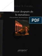 Corona, Néstor - Pensar Después de La Metafísica - Ed. Promoteo