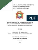 Análisis Biométrico Del Crecimiento Postnatal de Rhea Pennata