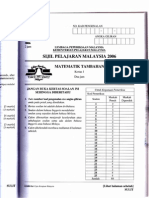 Additional Mathematics SPM P1 2006