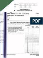 Additional Mathematics SPM P1 2011
