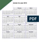 Year 2013 Calendar