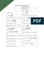 Tabela de Relações Trigonométricas