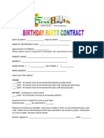 Birthday Party Contract