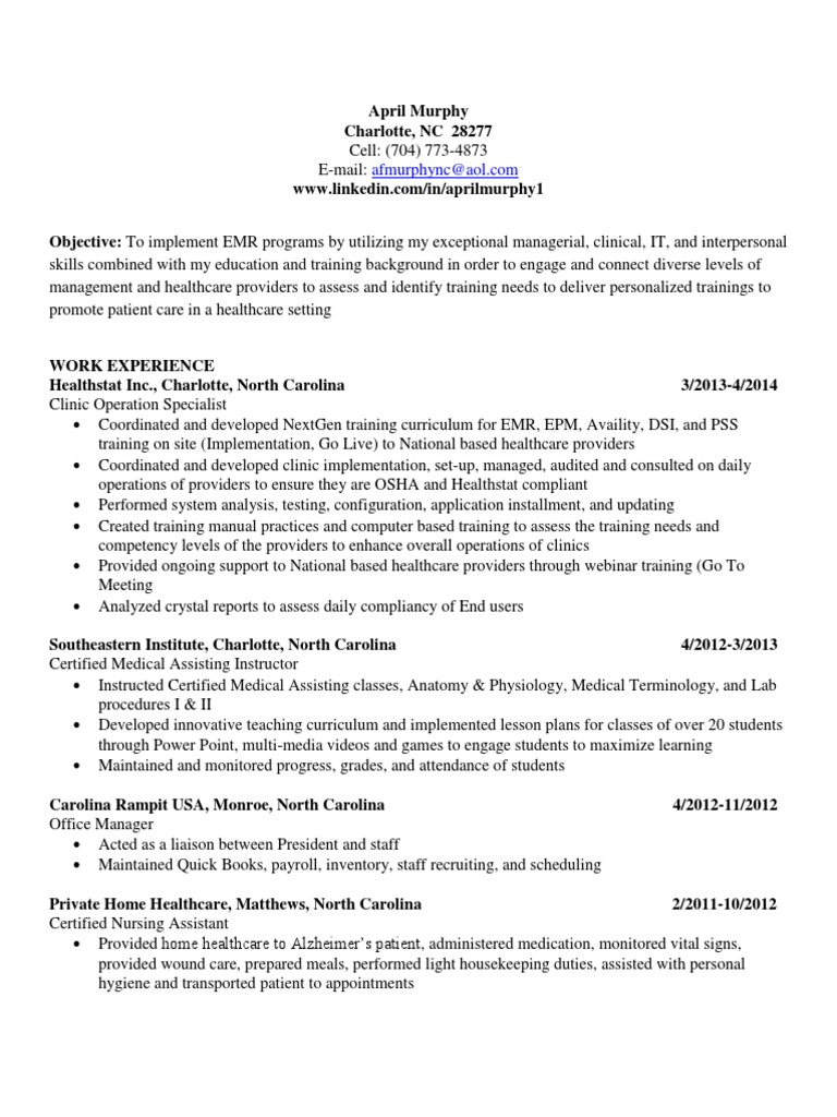 EMR Implementation Specialist Healthcare in USA Resume April