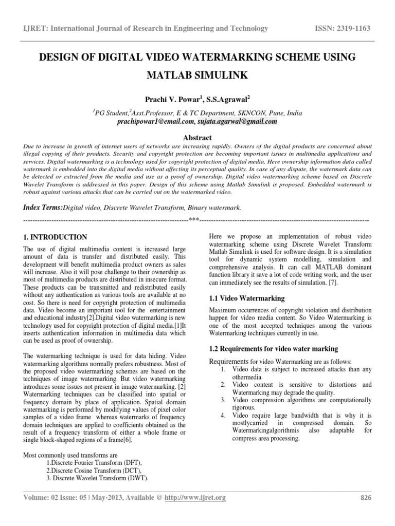 Design of Digital Video Watermarking Scheme Using Matlab