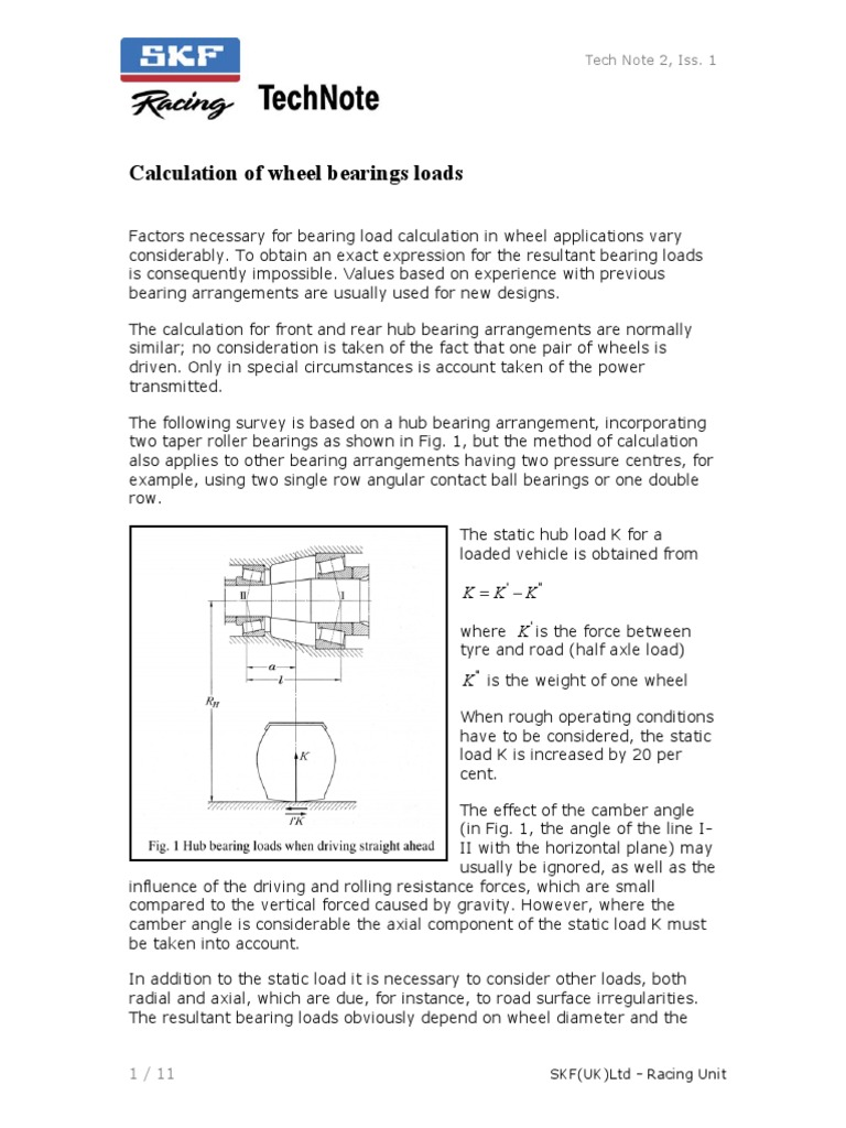 SKF Racing - Calculation of Wheel Bearings Loads | Bearing