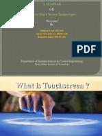 Seminar PPT for touchscreen technology