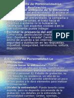 Entrevista de Personalidad/Realización, Redacción
