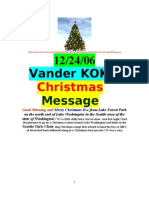 12/24/06 CHRISTMAS EVE MESSAGE from LAKE WASHINGTON by VanderKOK